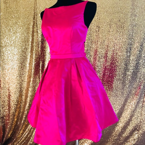 90b90324c2e5d Sherri Hill Dresses | Short Sleeveless Fit And Flare Fuchsia Dress ...